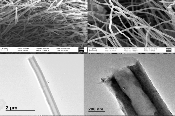 Microscopic view of carbon nanotubes created from carbon dioxide using the C2CNT process