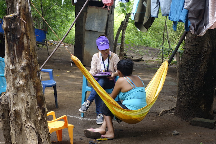 A researcher conducting interviews with women in Leon, Nicaragua