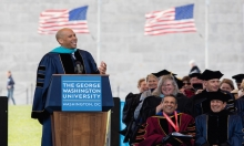 U.S. Senator Cory Booker of New Jersey delivers the George Washington University's commencement address Sunday, May 15 on the Na