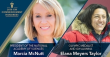 President of the National Academy of Sciences Marcia McNutt and three-time Olympic medalist and GW alumna Elana Meyers Taylor