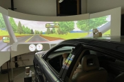 Car taking part in a driving simulation