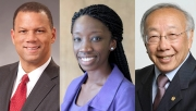New Board of Trustees members Kyle Farmbry, Sally Nuamah and Art B. Wong
